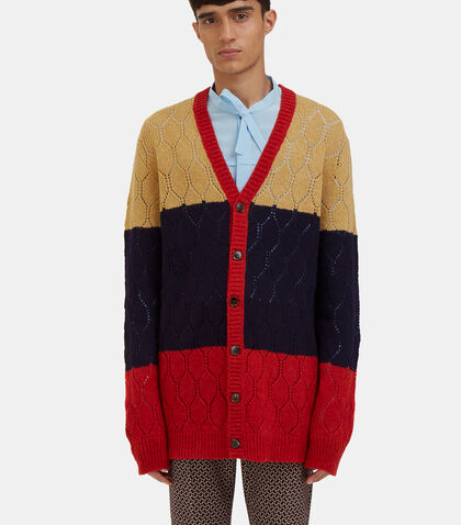 Oversized Block-Coloured Knit Cardigan by Gucci