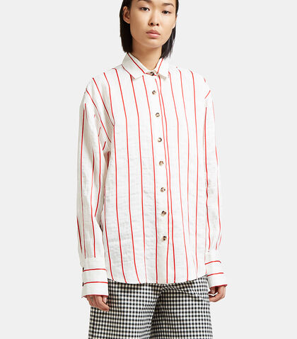 Oversized Creased Stripe Shirt by A.W.A.K.E