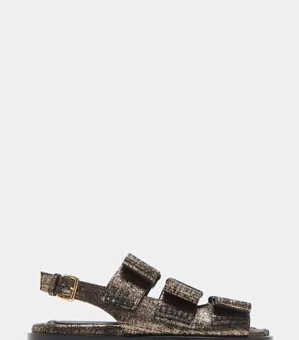Triple Bow Metallic Cracked Sandals by Marni