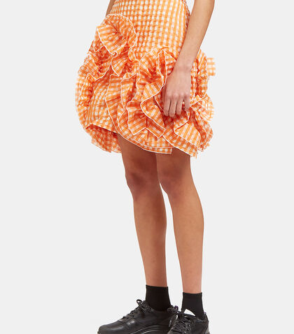 Seersucker Checked Ruffle Mini Skirt by MSGM