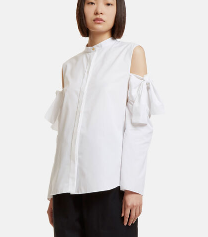 Oversized Bow Tied Cut-Out Shirt by Maison Rabih Kayrouz