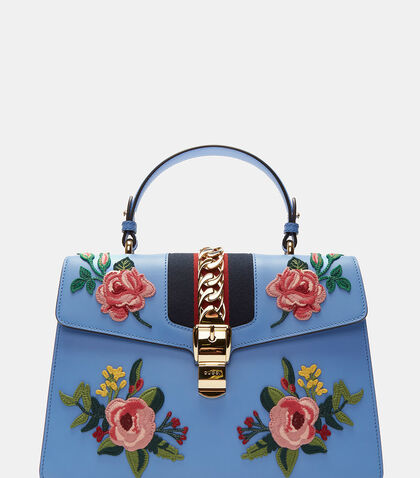 Sylvie Rose Embroidered Handbag by Gucci