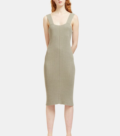 Contrast Ribbed Mid-Length Dress by Lauren Manoogian