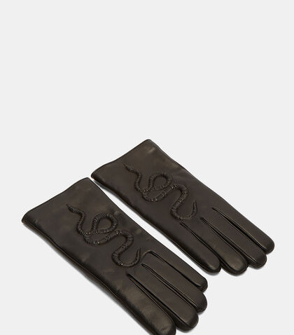 Snake Embossed Leather Gloves by Gucci