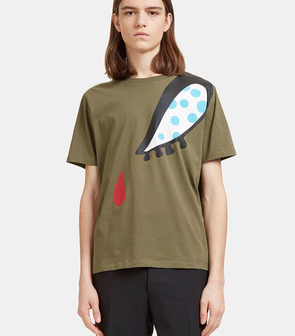 Doll Eye Print T-Shirt in Khaki by J.W. Anderson
