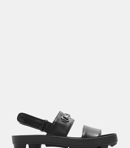Leather Horsebit Sandals by Gucci