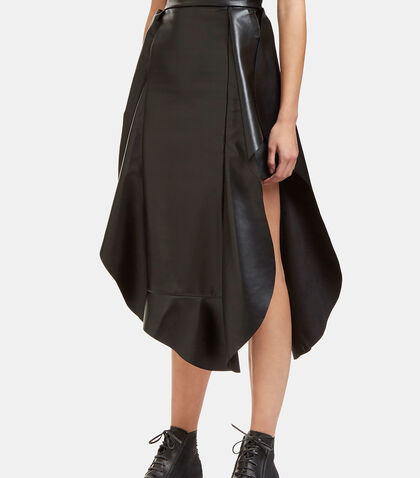 Jellyfish Faux Leather Frilled Skirt by A.W.A.K.E