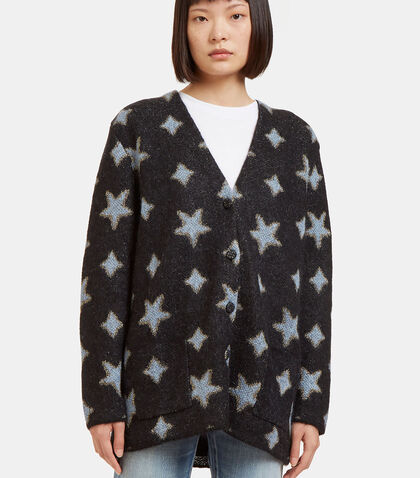 Metallic Star Intarsia Mohair Knit Cardigan by Saint Laurent
