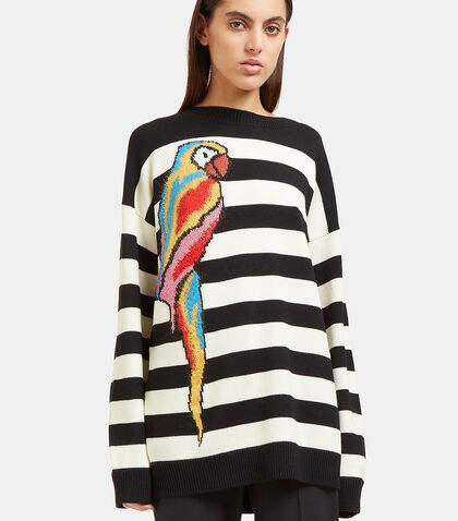Striped Parrot Intarsia Knit Sweater by Marc Jacobs