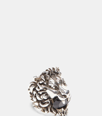 Lion Head Crystal Ring by Gucci