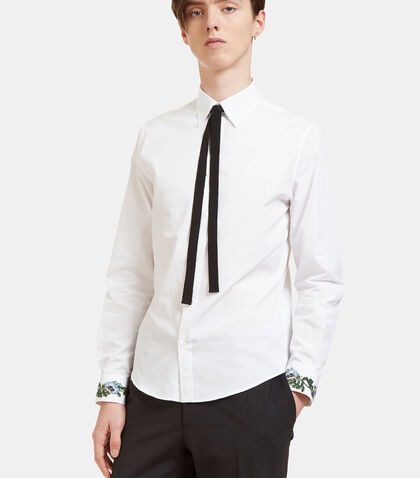 Duke Floral Embroidered Ribbon Tie Shirt by Gucci