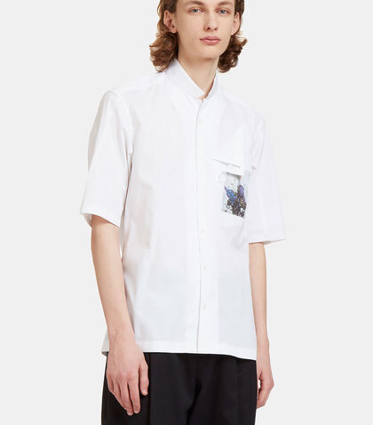 Layered Flower Patch Pocket Poplin Shirt by Aganovich