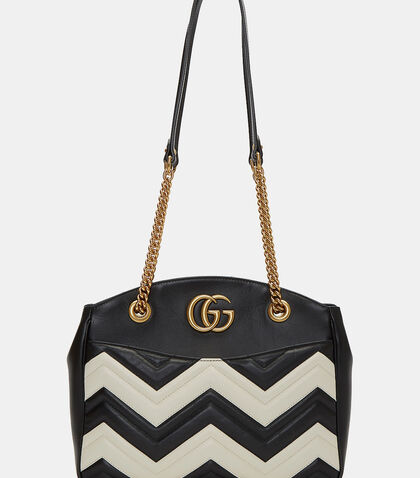 Marmont Monochrome Zigzag Quilted Handbag by Gucci