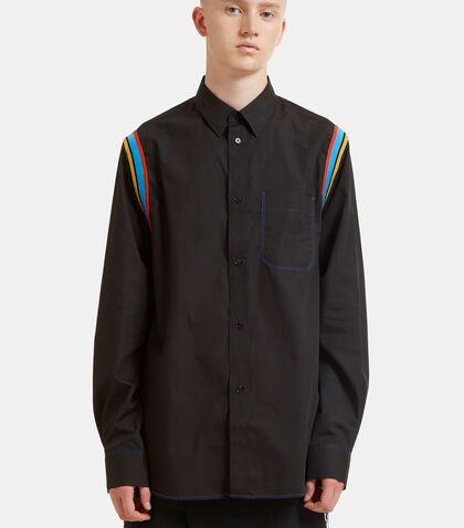 Stripe Ribbed Trim Poplin Shirt by J.W. Anderson