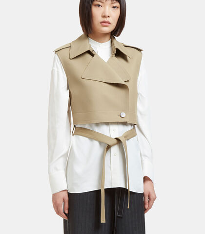 Raw Twill Cropped Jacket in Khaki by Helmut Lang