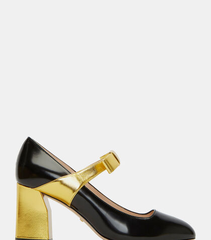 Metallic Block Heeled Mary Jane Pumps by Gucci