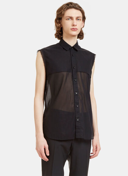 Buy Raw-Edged Sheer Sleeveless Shirt by Saint Laurent men clothes online