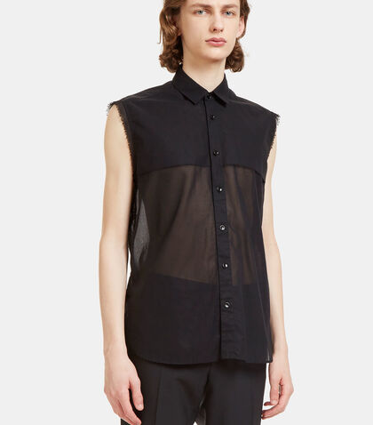 Raw-Edged Sheer Sleeveless Shirt by Saint Laurent