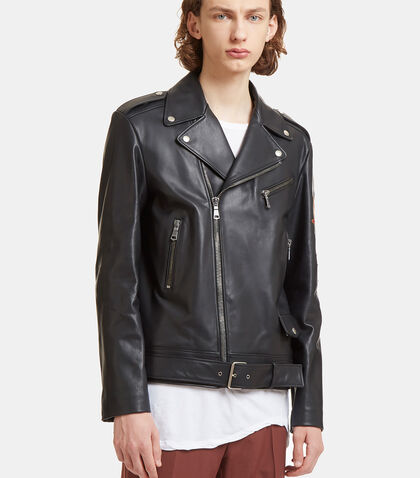 Blind for Love Embroidered Patch Leather Biker Jacket by Gucci
