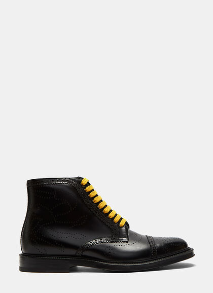 Buy Crab Multicolour Laced Brogue Boots by Gucci men clothes online