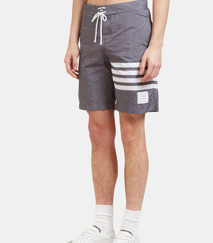 Long Striped Swim Shorts by Thom Browne