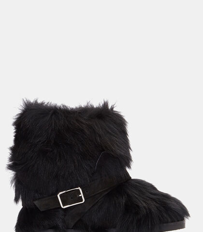 Cortina Furry Buckled Ankle Boots by Gianvito Rossi