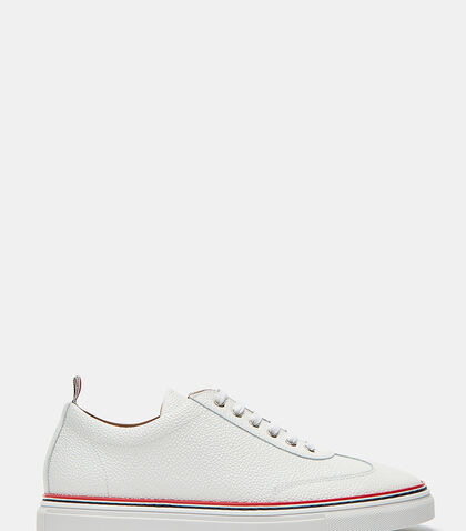 Pebble Grained Leather Low-Top Sneakers by Thom Browne
