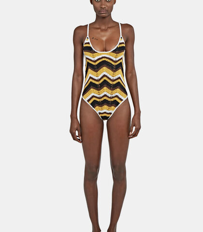 Honey Zigzag 70s Swimsuit by All That Remains