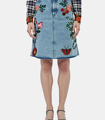 Embroidered Denim Skirt by Gucci