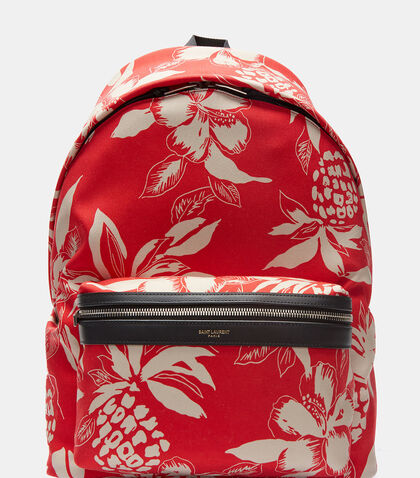 Hibiscus Canvas Hunting Backpack by Saint Laurent