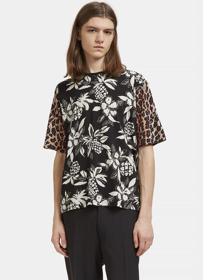 Buy Hibiscus Leopard Print T-Shirt by Saint Laurent men clothes online