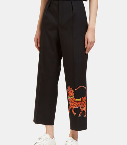 Tiger Embroidered Wide Leg Cropped Pants by Gucci