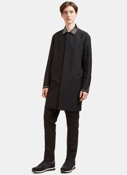 Buy Short Metal Grommet Coat by Valentino men clothes online