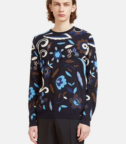 Garden Print Crew Neck Knit Sweater by Fendi