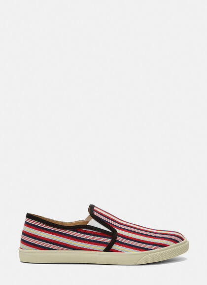 Buy Woven Stripe Slip-On Sneakers by Stella McCartney men clothes online