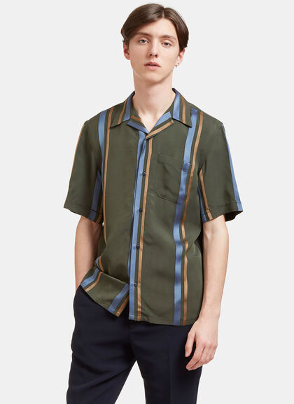 Buy Satin Striped Short Sleeved Shirt by Fendi men clothes online