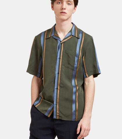 Satin Striped Short Sleeved Shirt by Fendi