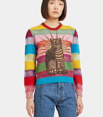 Embroidered Cat Lace Striped Sweater by Gucci
