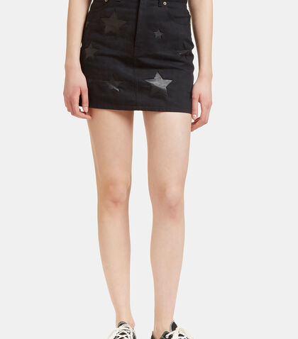 Denim Mini Skirt with Leather Stars by Saint Laurent