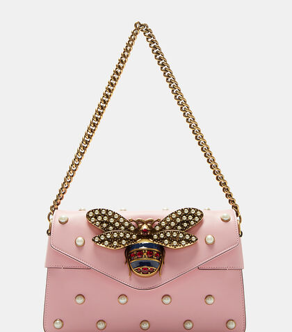 Broadway Pearl Studded Bee Clutch Bag by Gucci