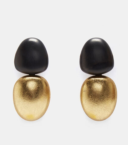 7763 Ebony and Metallic Clip-On Earrings by Monies
