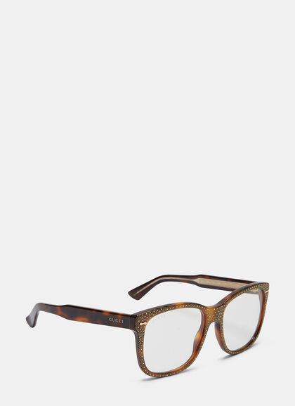 Buy Rhinestone Squared Glasses by Gucci online