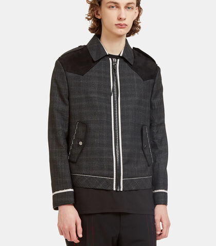 Suede Yoke Geometric Creased Jacket by Lanvin