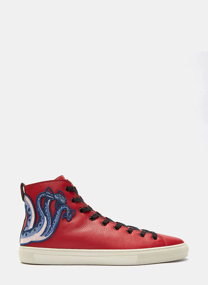 Buy Dragon Embroidered High-Top Sneakers by Gucci men clothes online