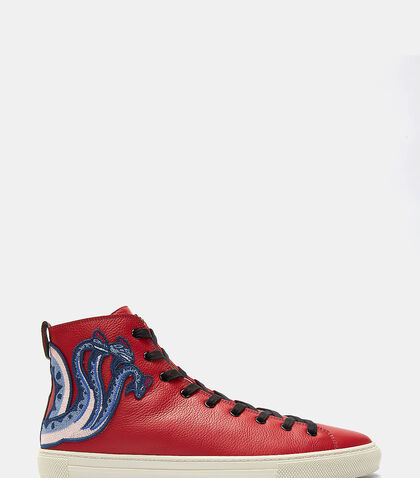 Dragon Embroidered High-Top Sneakers by Gucci