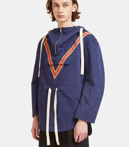 Oversized V-Striped Anorak Jacket by Stella McCartney