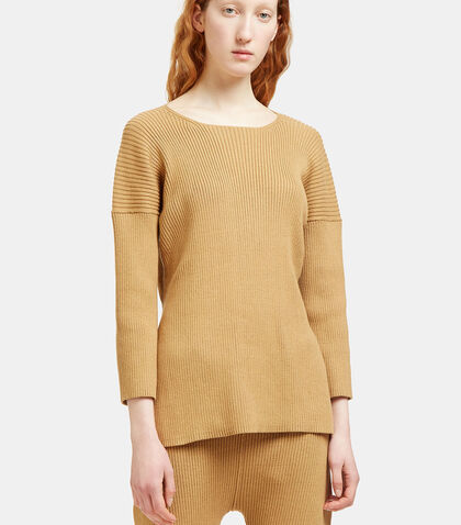 Ribbed Knit Side Slit Sweater by Lauren Manoogian