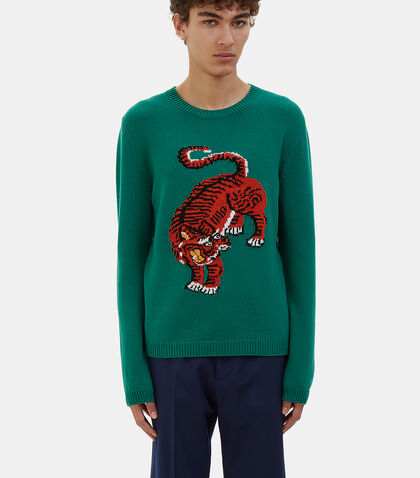 Tiger Intarsia Knit Crew Neck Sweater by Gucci