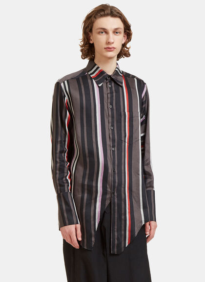 Buy Oversized Contrast Striped Fashion Shirt by Yang Li men clothes online