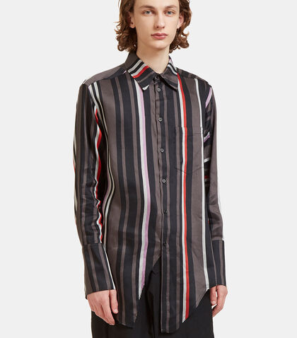Oversized Contrast Striped Fashion Shirt by Yang Li
